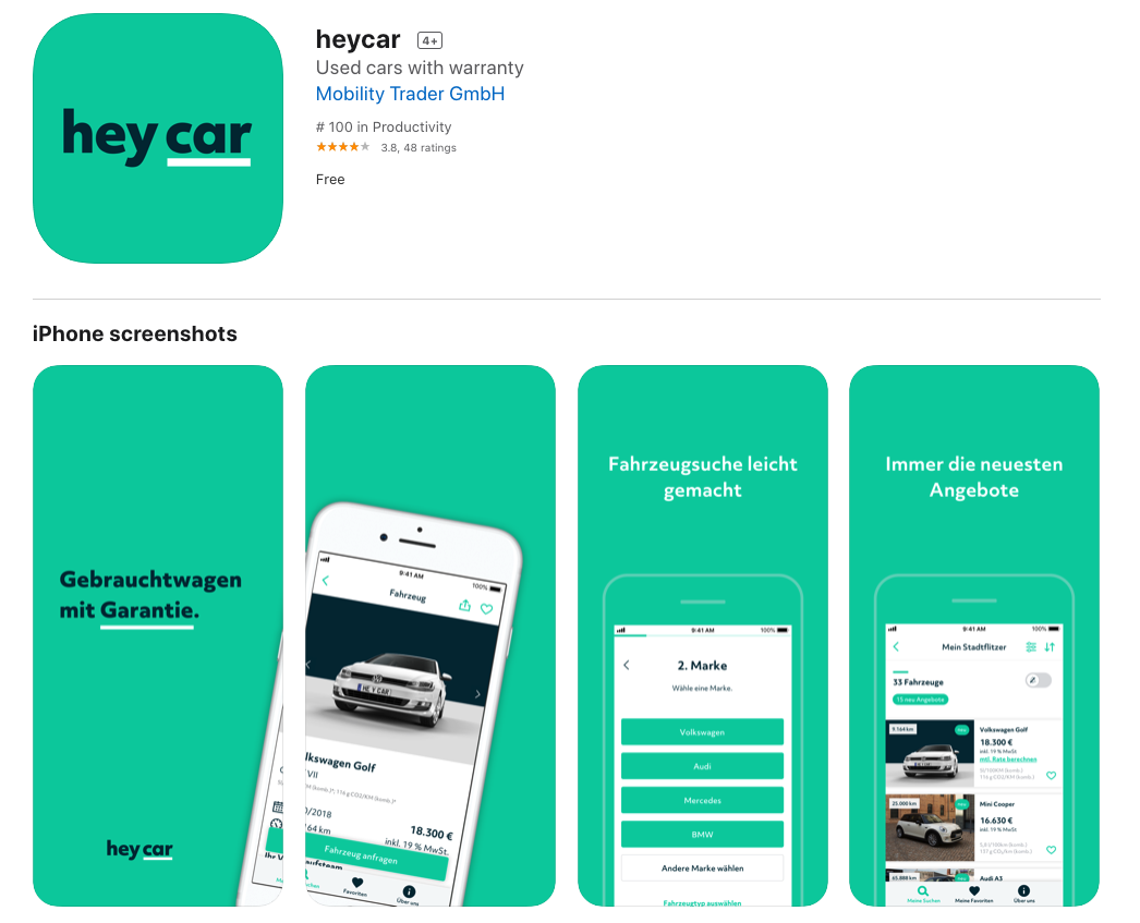 heycar app is available on both App Store and Google Play.